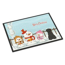 Merry Christmas Carolers Briard Doormat