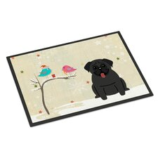 Christmas Presents Between Friends Pug Doormat