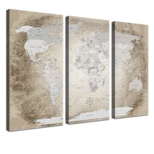 3-tlg. Leinwandbild-Set Worldmap Grafikdruck
