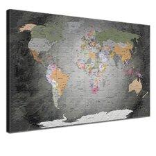 World Map Graphic Art on Canvas