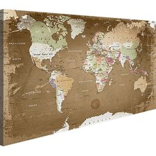 Leinwandbild World Map, Grafikdruck, in Beige