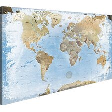 Leinwandbild World Map with Cork Back, Grafikdruck