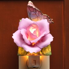 Butterfly with Lavender Rose Night Light