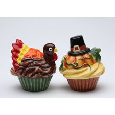 Pumpkin and Turkey 2 Piece Salt and Pepper Set