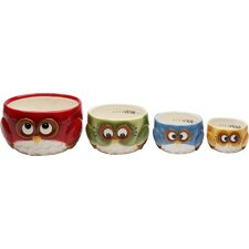 Owl 4 Piece Earthenware Measuring Cup Set