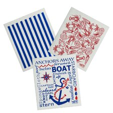 3 Piece Nautical Cleaning Cloth Set