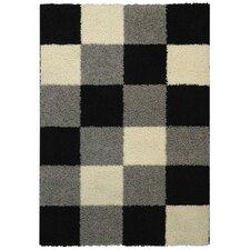 Bella Maxy Home Checkerboard Squares Contemporary Black/Grey Shag Area Rug