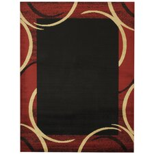 Pasha Maxy Home Contemporary Arches French Border Black/Red Area Rug