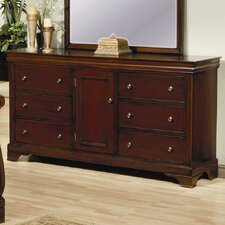 6 Drawer Dresser in Deep Mahogany Stain