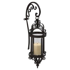 Hattie Wrought Iron and Glass Hanging Wall Lantern