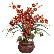 Silk Cymbidium in Burgundy with Decorative Vase