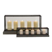 2 Piece Wood/Glass Candelabra Set
