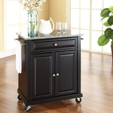 Detweiler Solid Granite Top Portable Kitchen Cart/Island