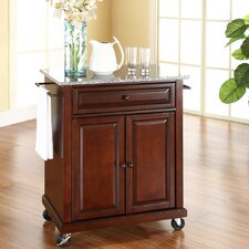 Detweiler Solid Granite Top Portable Kitchen Cart/Island