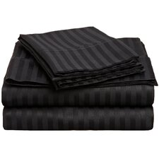 Rieger 300 Thread Count Premium Long-Staple Combed Cotton Stripe Waterbed Queen Sheet Set
