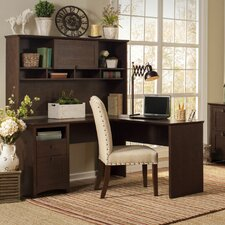 Egger L Executive Desk with Hutch and Lateral File