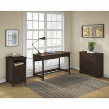 Egger Computer Desk with Low Storage Cabinet and 2 Drawer Pedestal
