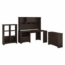 Egger Corner Executive Desk with Hutch, 6-Cube Bookcase and Low Storage Cabinet