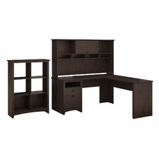 Egger Executive Corner Desk with Hutch & 6 Slot Bookcase