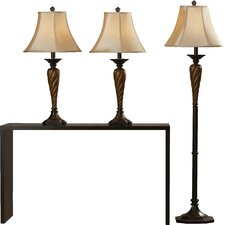 """Torian 33.5"""" H Table Lamp and Floor Lamp Set with Bell Shade"""