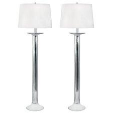 "Aegean Mercury Glass Candlestick 34"" H Table Lamp (Set of 2)"