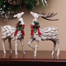 Tewkesbury 2 Piece Decorative Christmas Deer Figurine Set