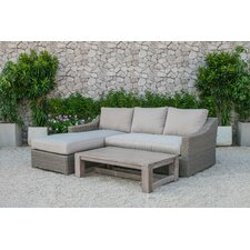 Naperville Outdoor Wicker 3 Piece Deep Seating Group with Cushion (Set of 2)