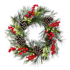 "24"" Holly and Pinecone Wreath"