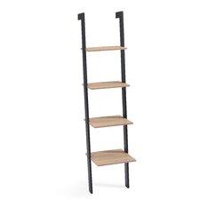 Weathered Oak 4 Shelf Leaning Shelf