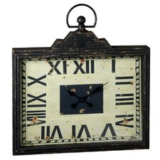 Distressed Black Rectangle Pocket Watch Wall Clock
