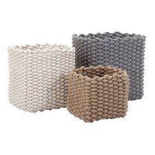 3 Piece Natural Cotton Rope Basket Set