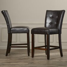 "Walley 24"" Bar Stool with Cushion (Set of 2)"