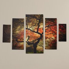 Japanese 5 Piece Photographic Print on Wrapped Canvas Set