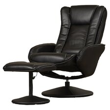 Leather Heated Massage Recliner with Ottoman