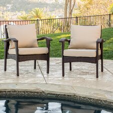 Wicker Club Chairs with Cushions (Set of 2)