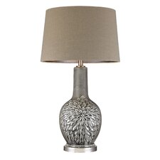 "Daniel Glazed Floral 31"" Table Lamp with Drum Shade"