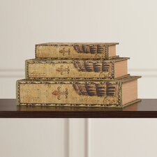 Waltham 3 Piece Classic Library Wood Storage Book Set