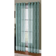 Knollwood Boho Embroided Faux Linen Sheer Curtain Panels (Set of 2)