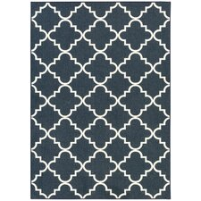 Fancy Trellis Navy Area Rug