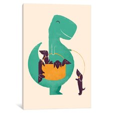 T-Rex and His Basketful of Wiener Dogs Graphic Art on Wrapped Canvas