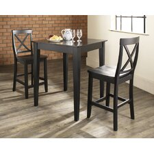 Baggley 3 Piece Pub Table Set with Tapered Leg Table and X-Back Barstools