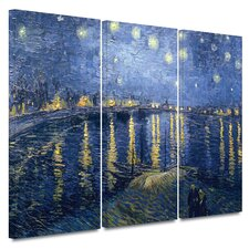 'Starry Night over the Rhone' by Vincent van Gogh 3 Piece Painting Print on Canvas Set