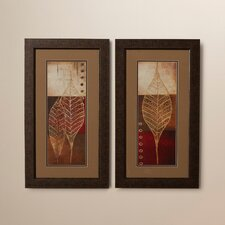 Baynton 2 Piece Fossil Leaves Framed Graphic Art (Set of 2)