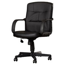 Reeve Low-Back Leather Office Chair with Nylon Arms (Set of 2)
