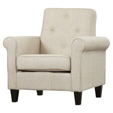 Coll Tufted Upholstered Lounge Chair in Beige Linen