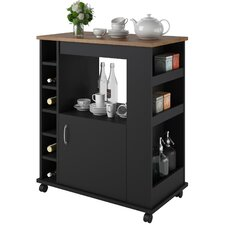Worcester Kitchen Cart with Wood Top in Black