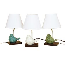 "Milan Crackle Ceramic Bird 14.5"" H Table Lamp With Empire Shade"