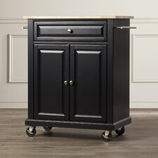 Bexton Kitchen Cart with Natural Wood Top