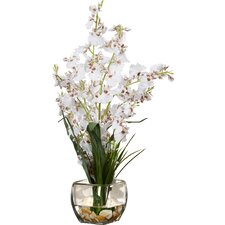 Silk White Orchids in Short Oval Vase