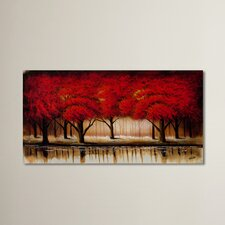 Parade of Red Trees Painting Print on Canvas